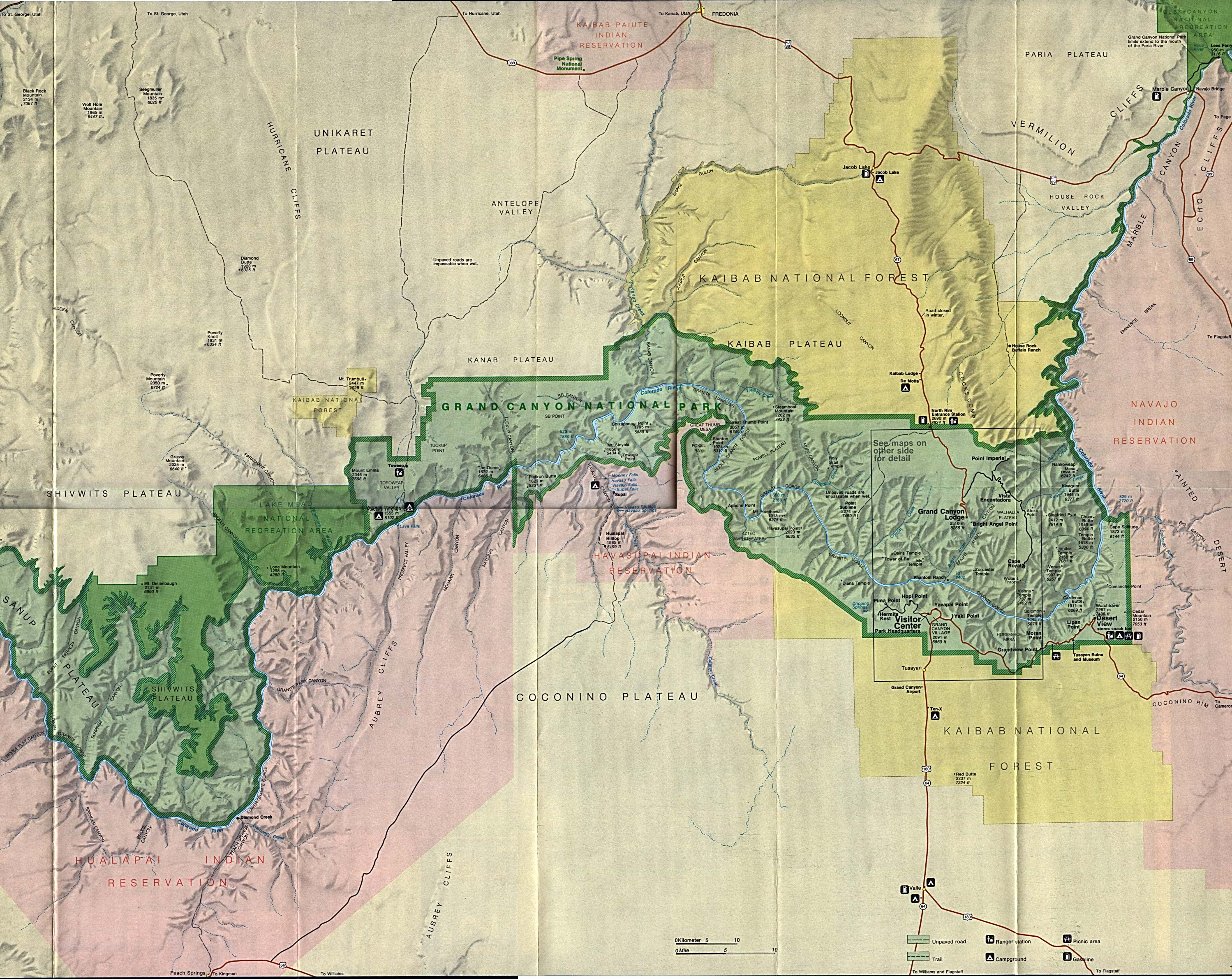 Mapa de Relieve Sombreado de la Región Occidental del Parque Nacionall Gran Cañón, Arizona, Estados Unidos
