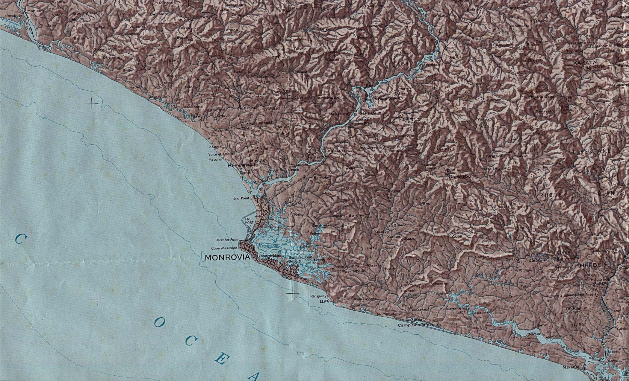 Mapa de Relieve Sombreado de la Région de Monrovia, Liberia
