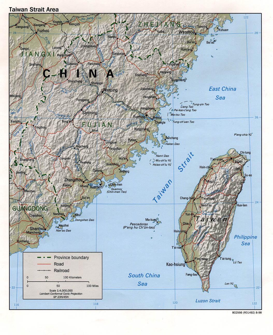 Mapa de Relieve Sombreado de la Région del Estrecho de Taiwán