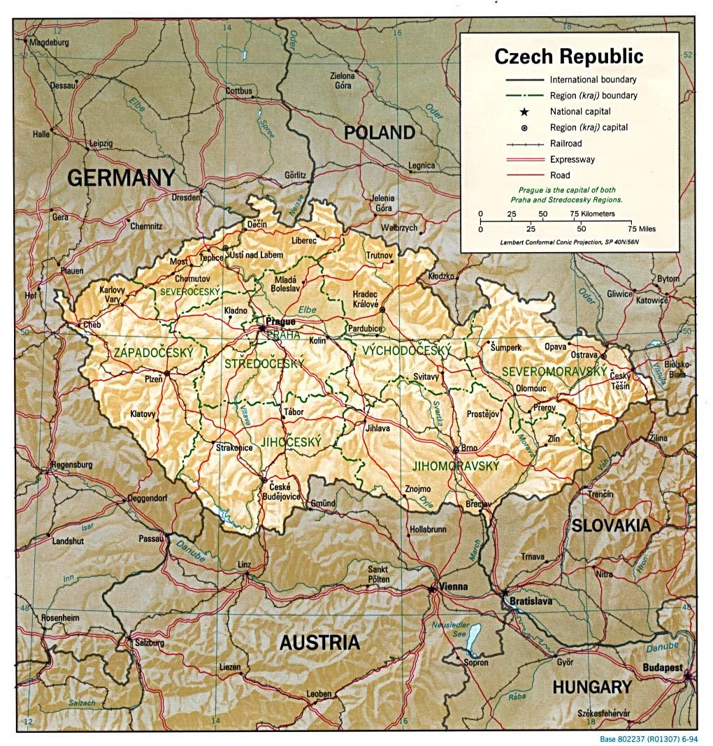 Mapa de Relieve Sombreado de la República Checa