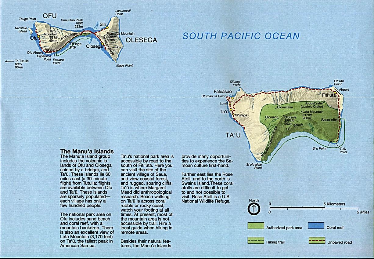 Mapa de Relieve Sombreado de las Islas Manu'a, Samoa Americana