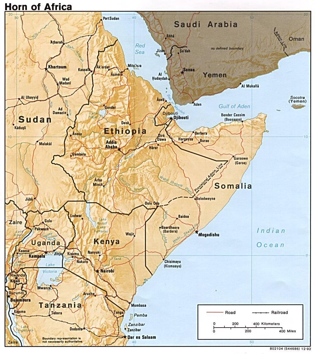 Mapa de Relieve Sombreado del Cuerno de África