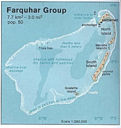 Mapa de Relieve Sombreado del Grupo de Farquhar, Seychelles