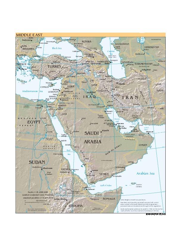 Mapa de Relieve Sombreado del Oriente Medio