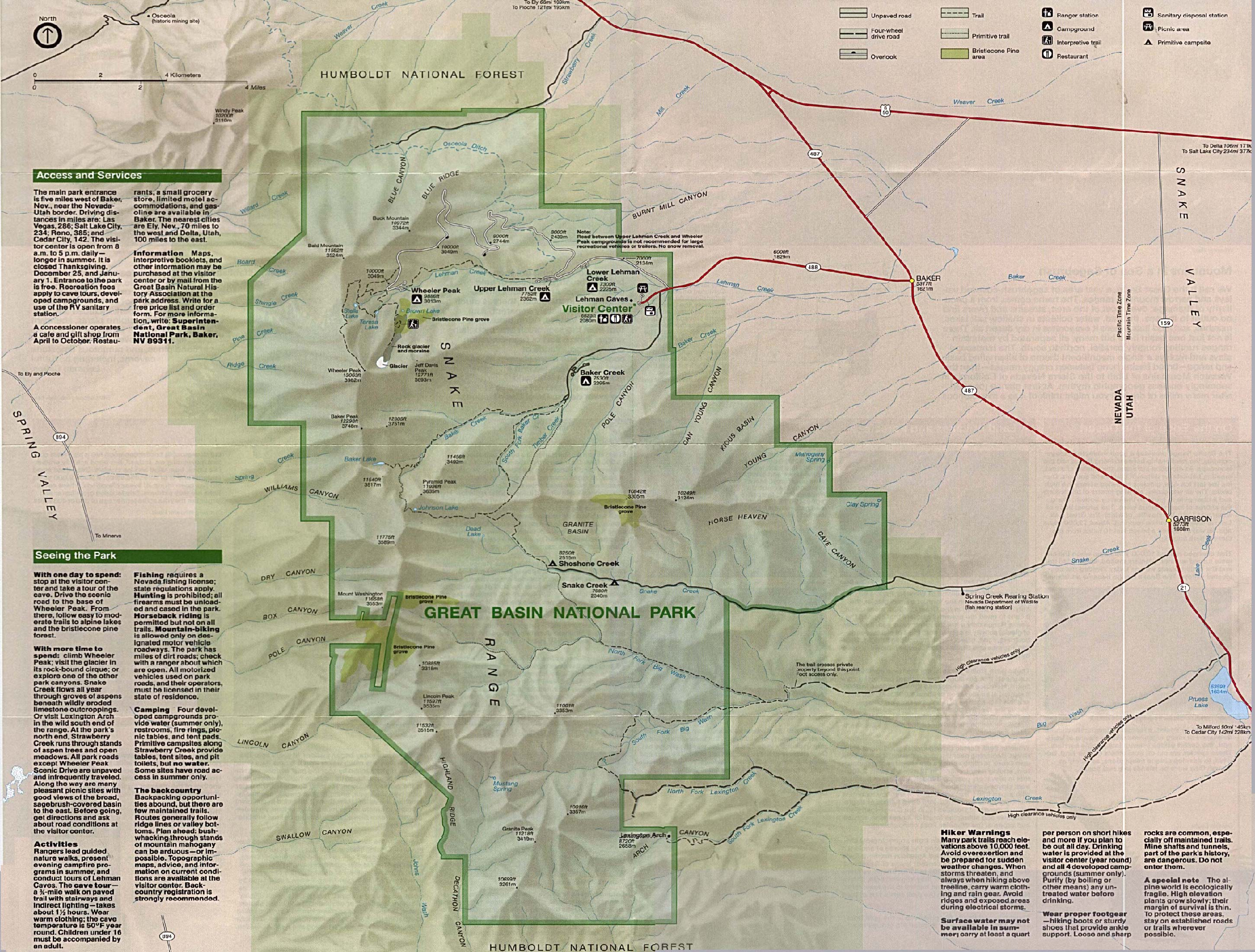 Great Basin National Park Shaded Relief Map, Nevada, United States