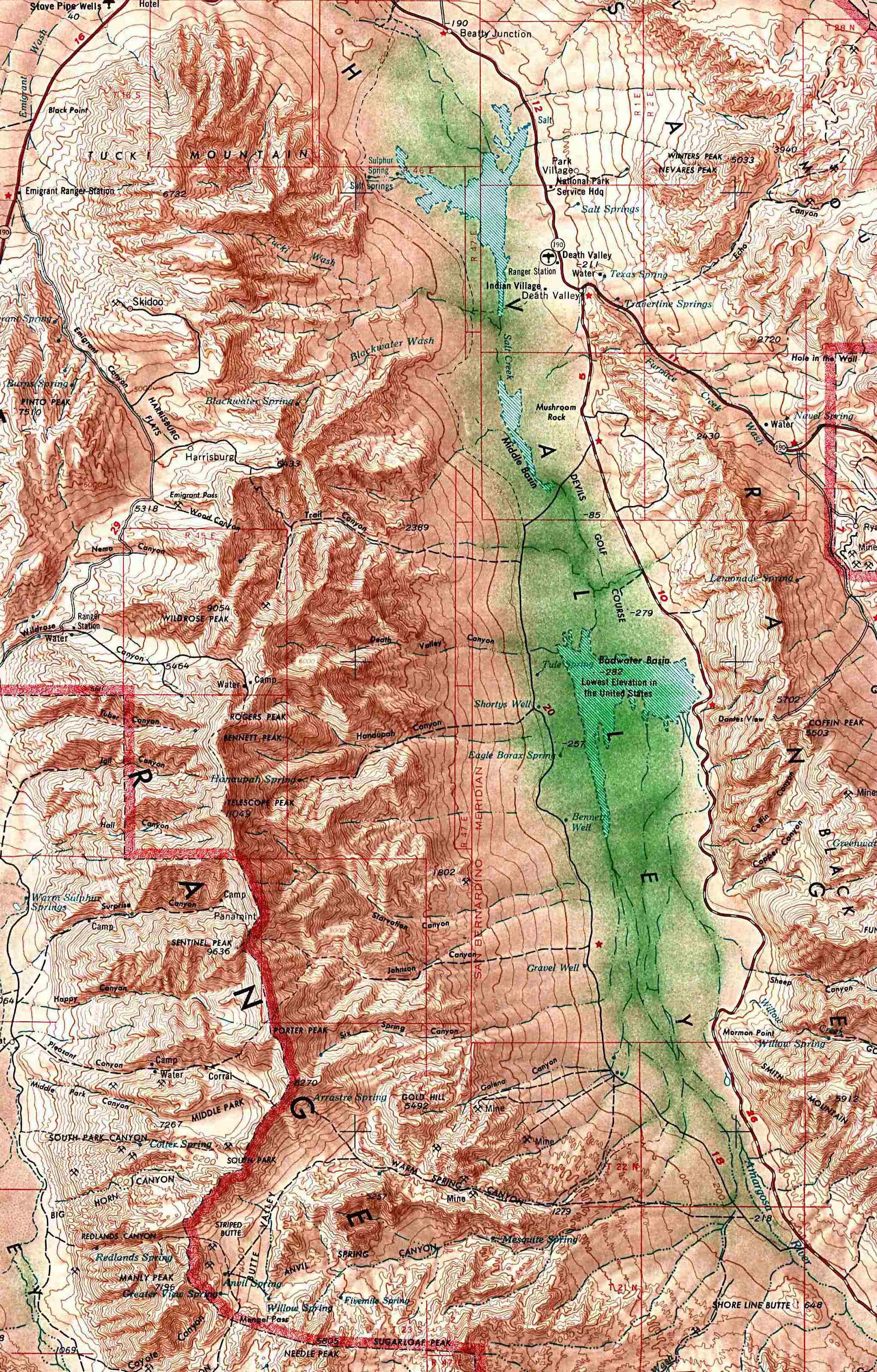 Mapa de Relieve Sombreado del Parque Nacionalath Valle, California y Nevada, Estados Unidos