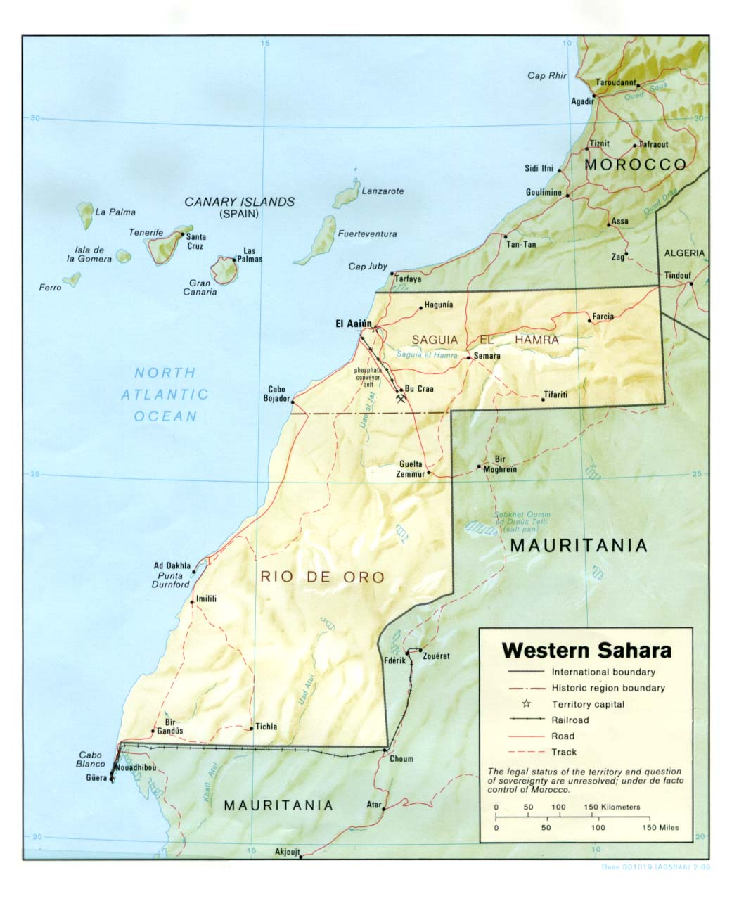 Mapa de Relieve Sombreado del Sahara Occidental