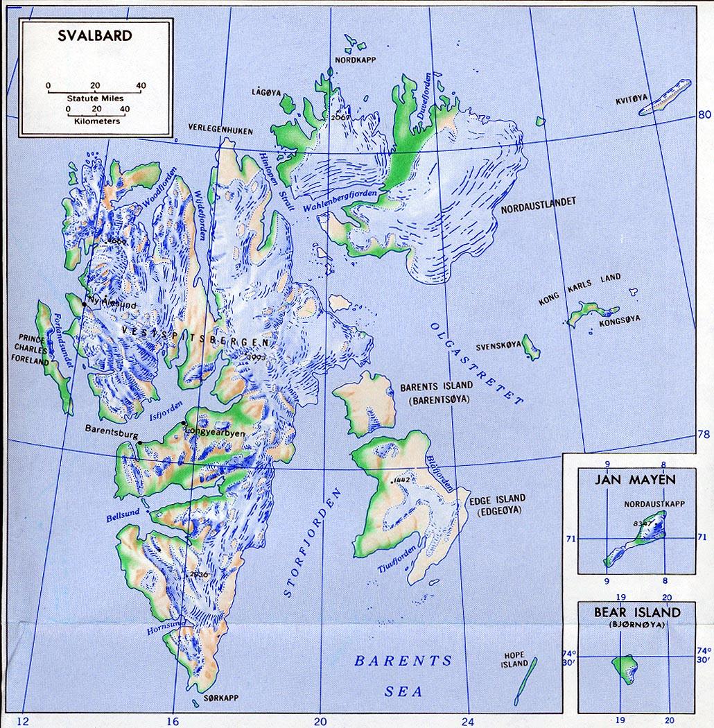 Mapa de Relieve de Archipiélago Svalbard (Océano Ártico),  Noruega