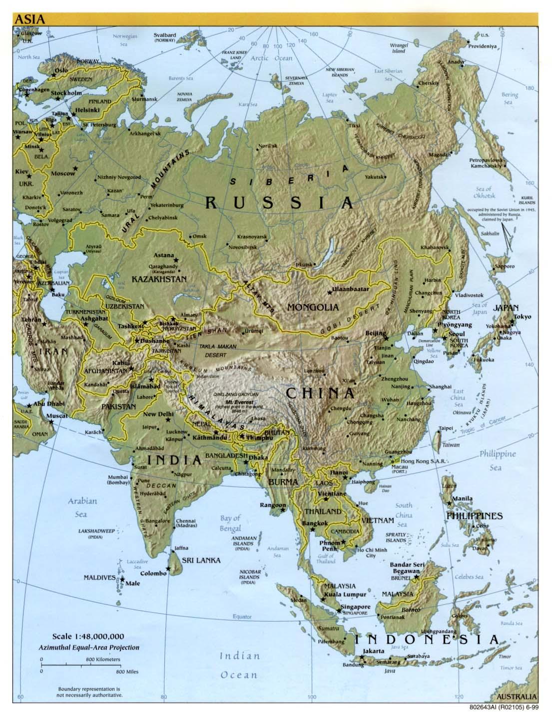 Mapa de Relieve de Asia 1999