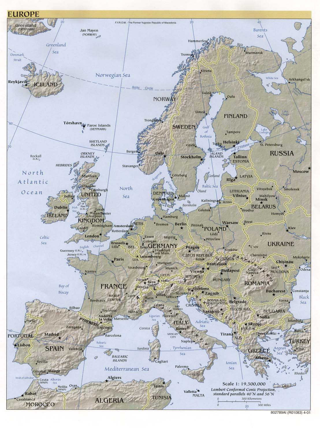 Europe topography 2001
