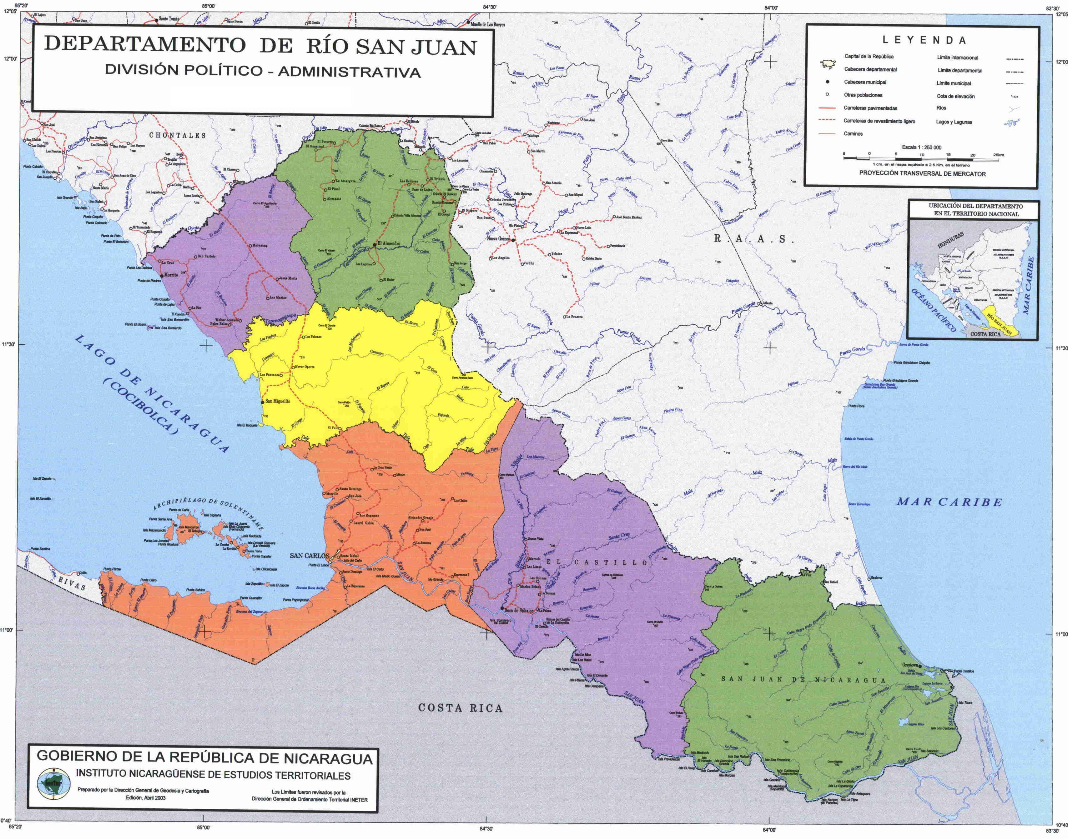 Rio San Juan Administrative Political Map, Nicaragua