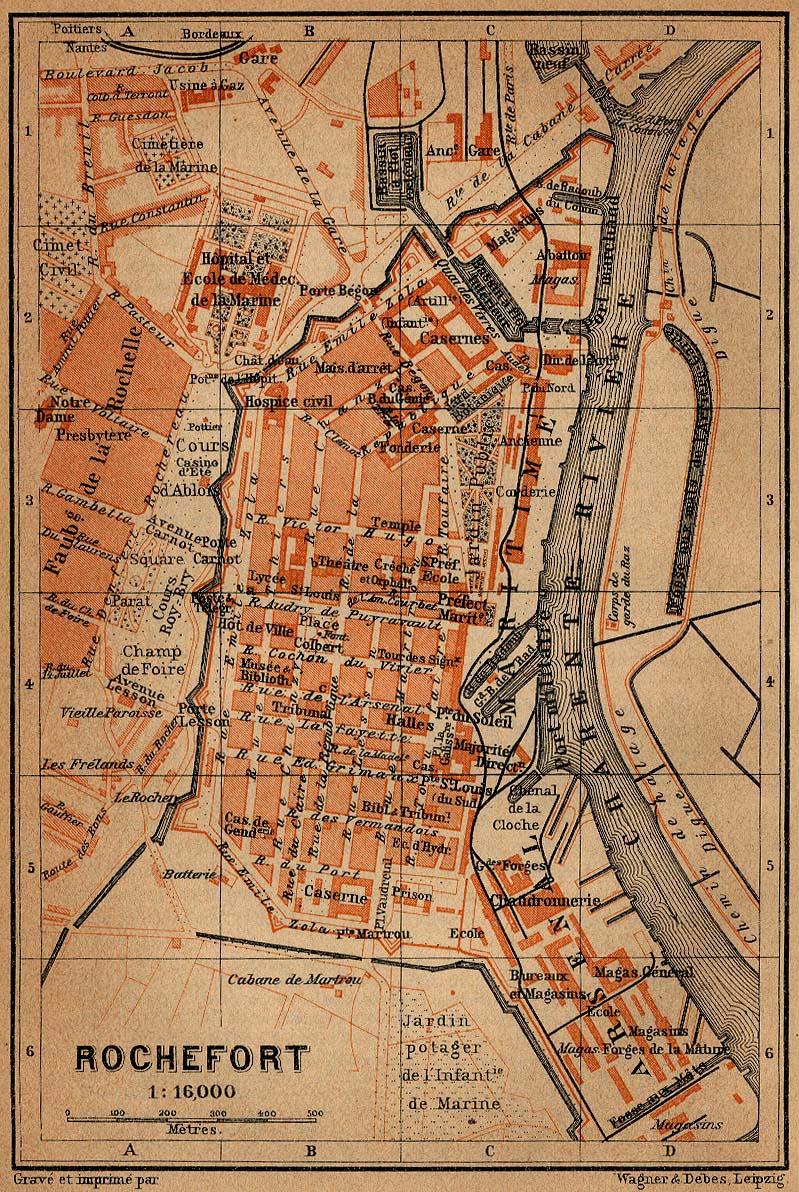 Rochefort Map, France 1914