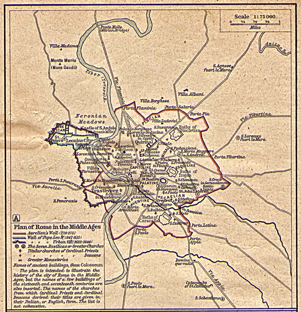 Mapa de Roma en la Edad Media