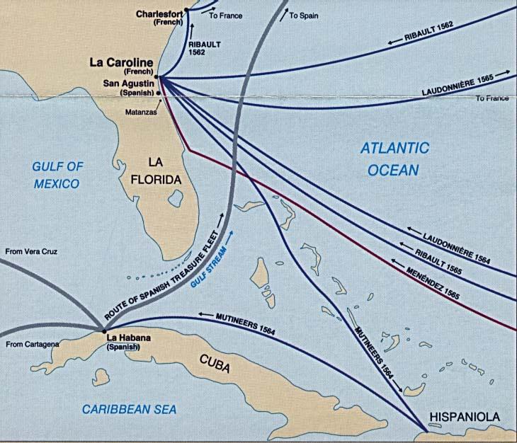 Mapa de Rutas Históricas, Florida, Estados Unidos