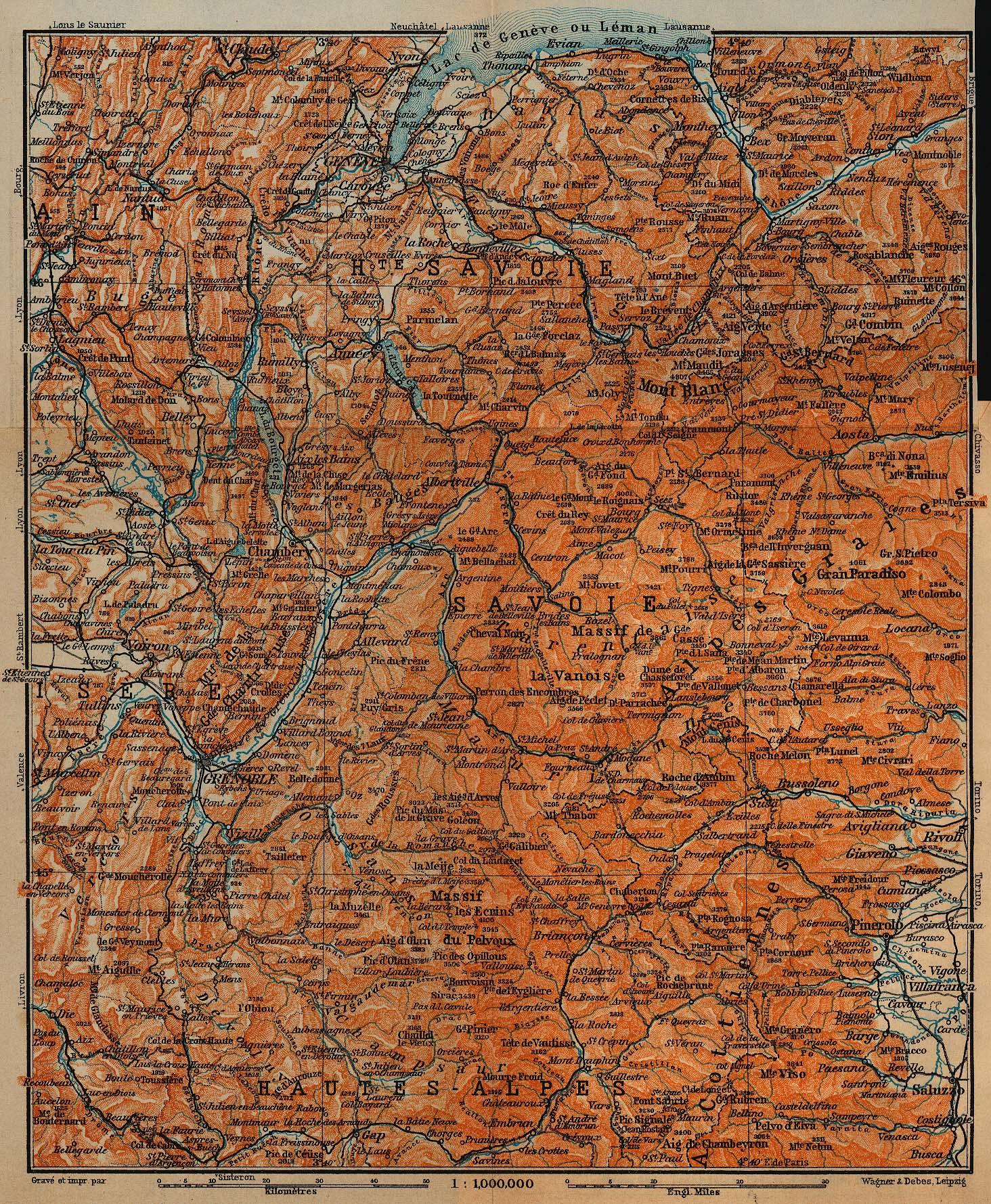 Mapa de Saboya y Delfinado, Francia 1914