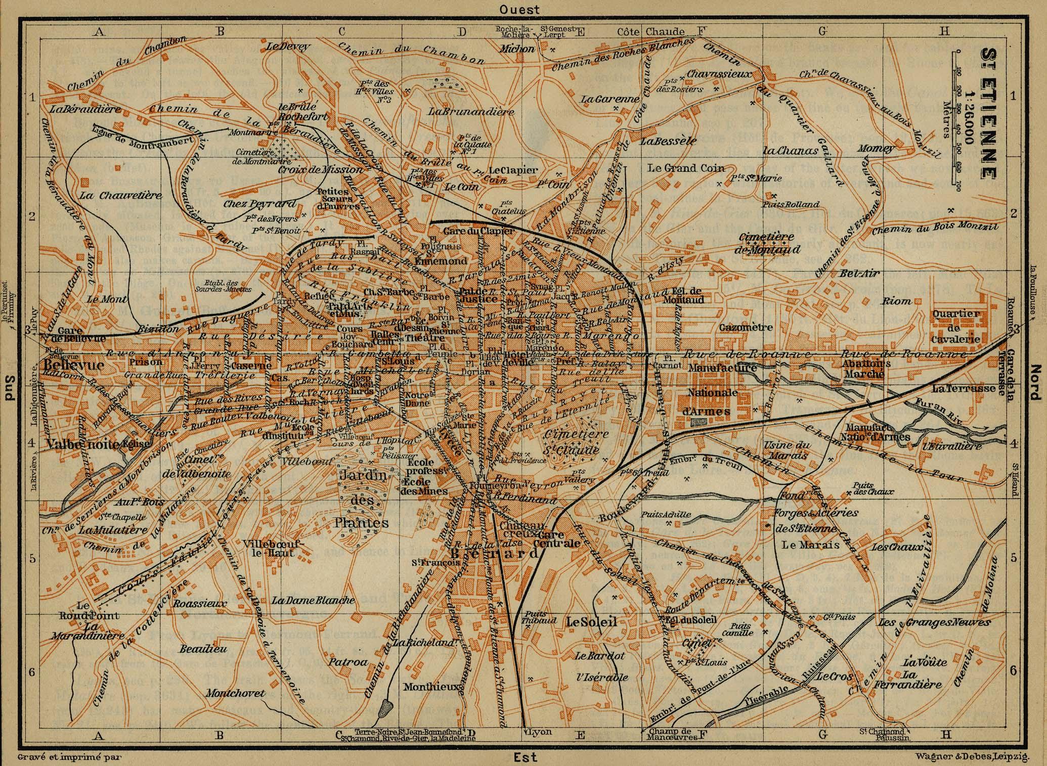 Mapa de Saint-Étienne, Francia 1914