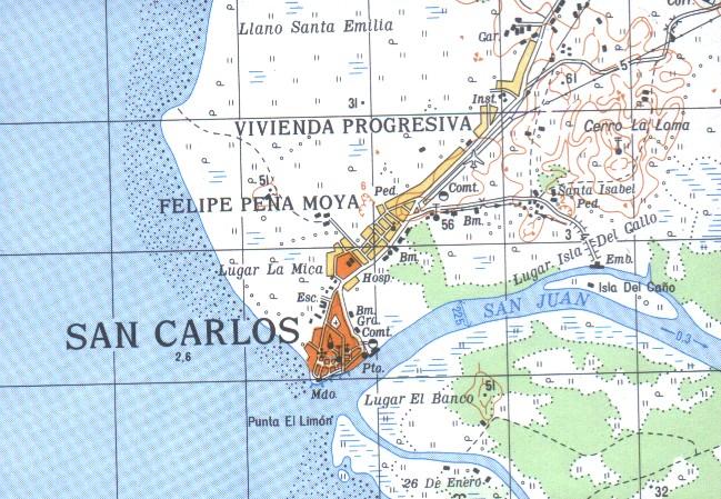 Mapa de San Carlos, Rio San Juan, Nicaragua