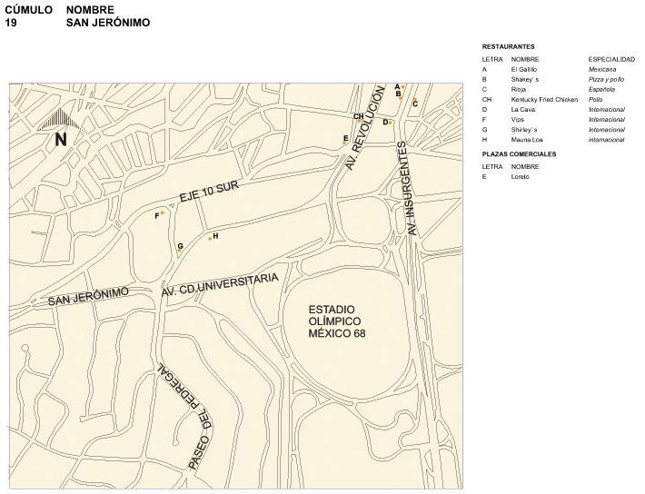 Mapa de San Jerónimo, Mexico D.F.