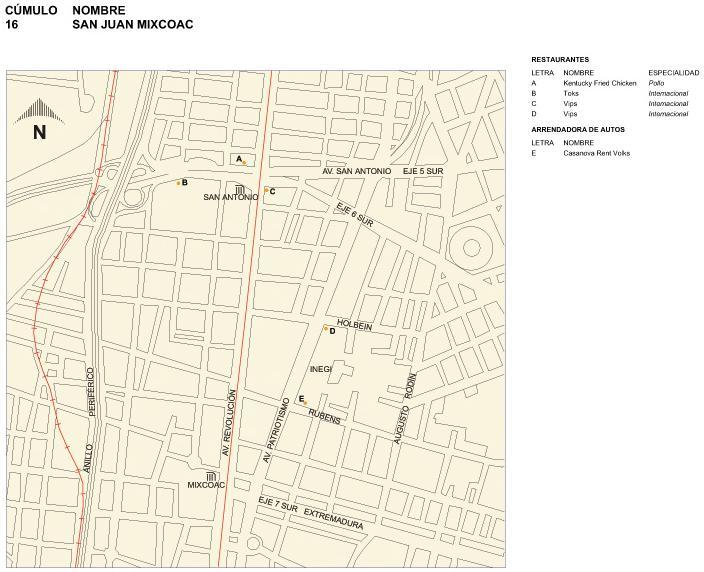 Mapa de San Juan Mixcoac, Mexico D.F.