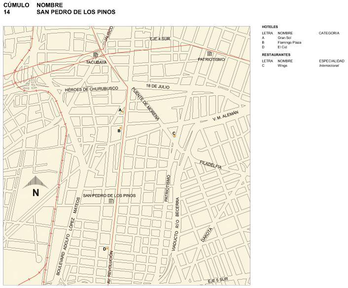 Mapa de San Pedro de los Pinos, Mexico D.F.