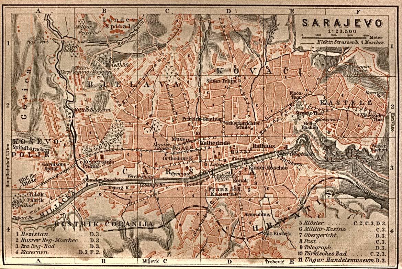 Maps Of Sarajevo Map Bosnia And Herzegovina 1905 Mapa Owje Com