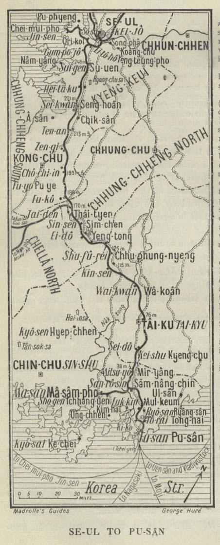 Mapa de Seúl Hacia Pu-san 1912
