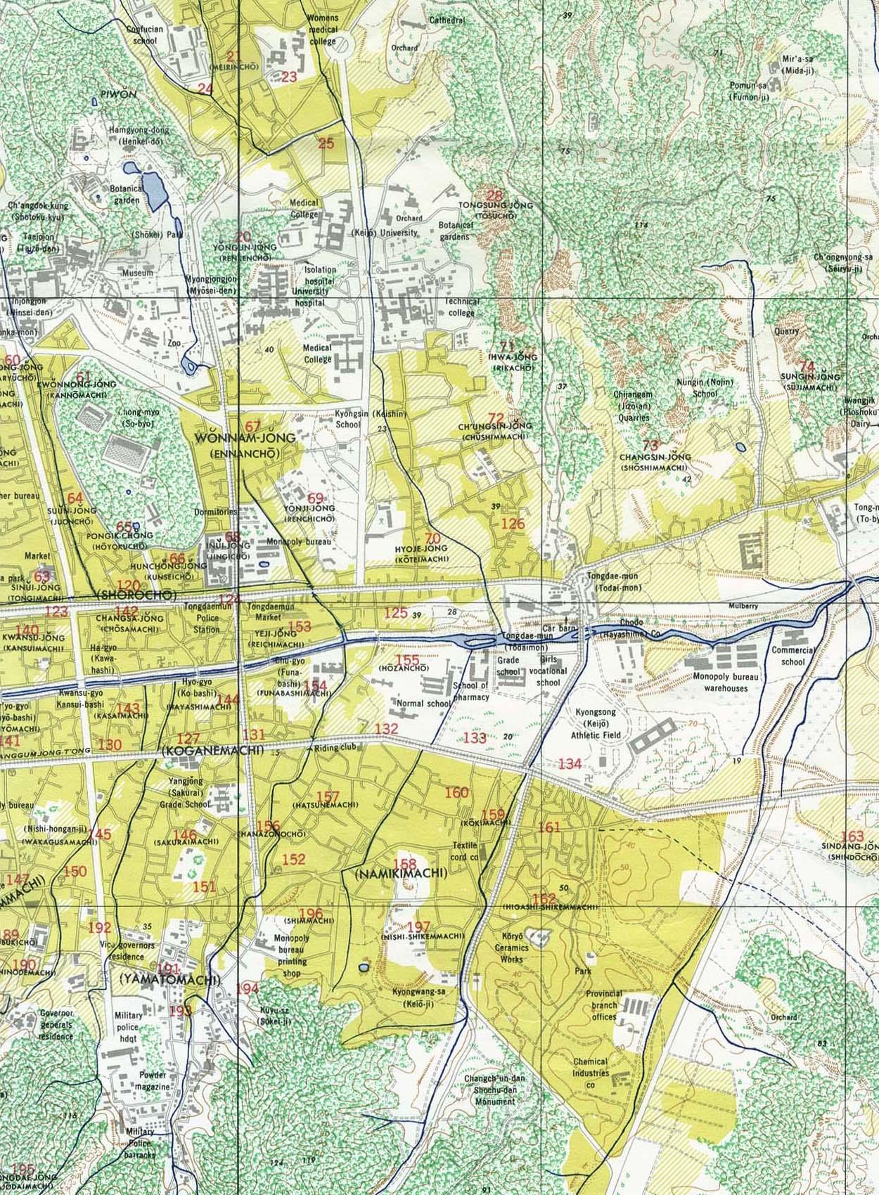 Eastern Seoul Map, South Korea 1946