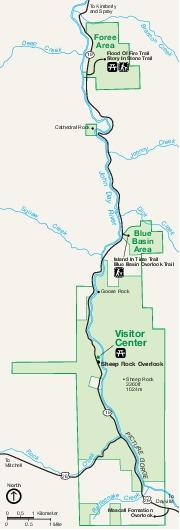 Mapa de Sheep Rock Unit, Monumento Nacional John Day Fossil Beds, Oregón, Estados Unidos