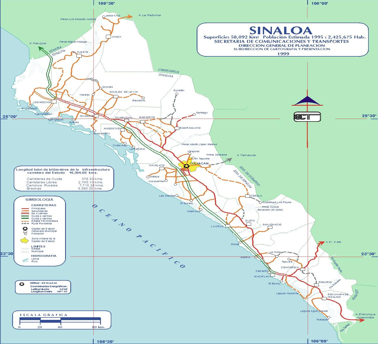 Map of Sinaloa (State), Mexico