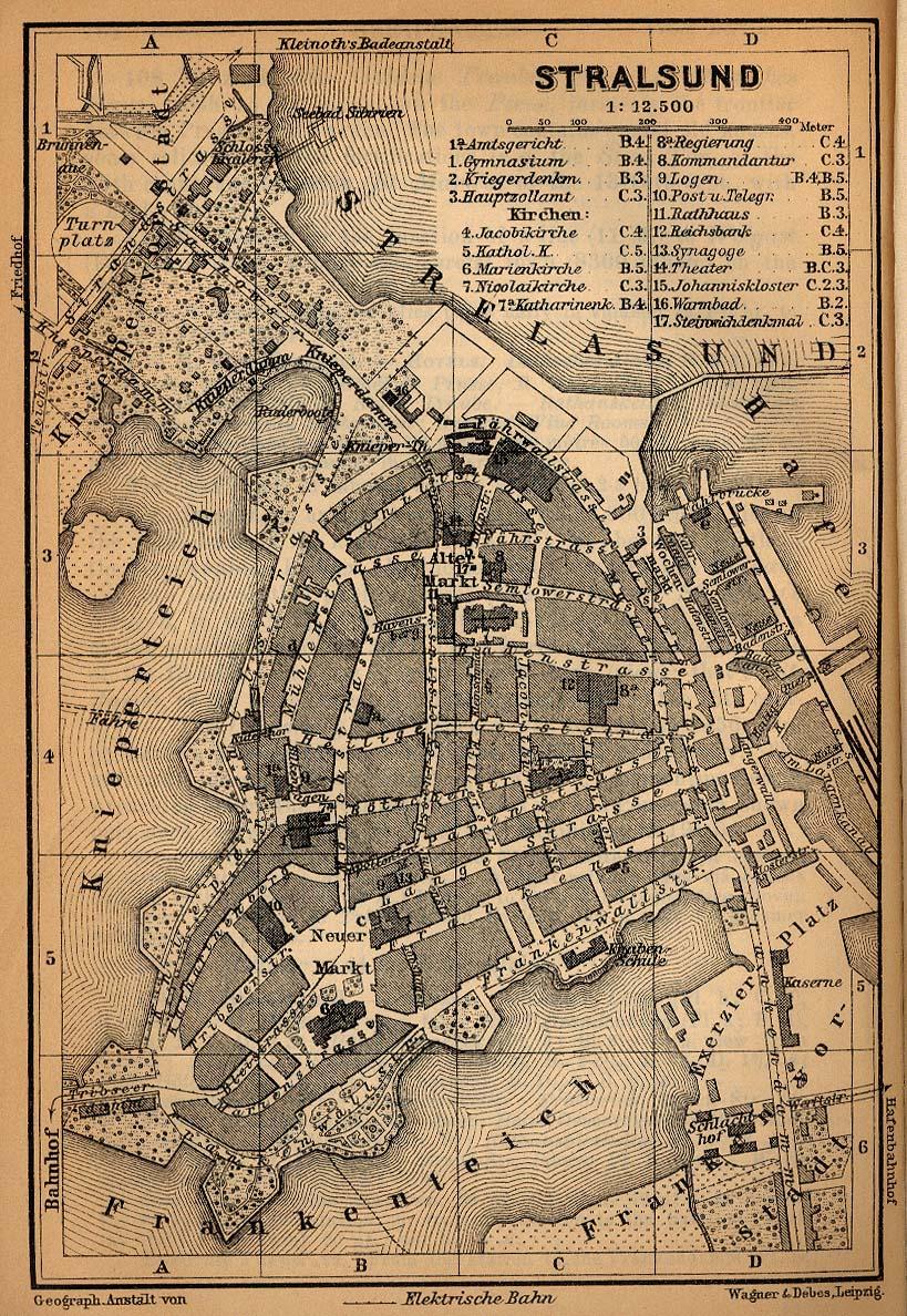 Mapa de Stralsund, Alemania 1910