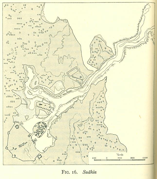 Mapa de Suakin, Sudán 1946