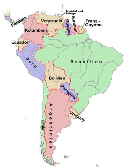 Mapa de Sudamérica 2001