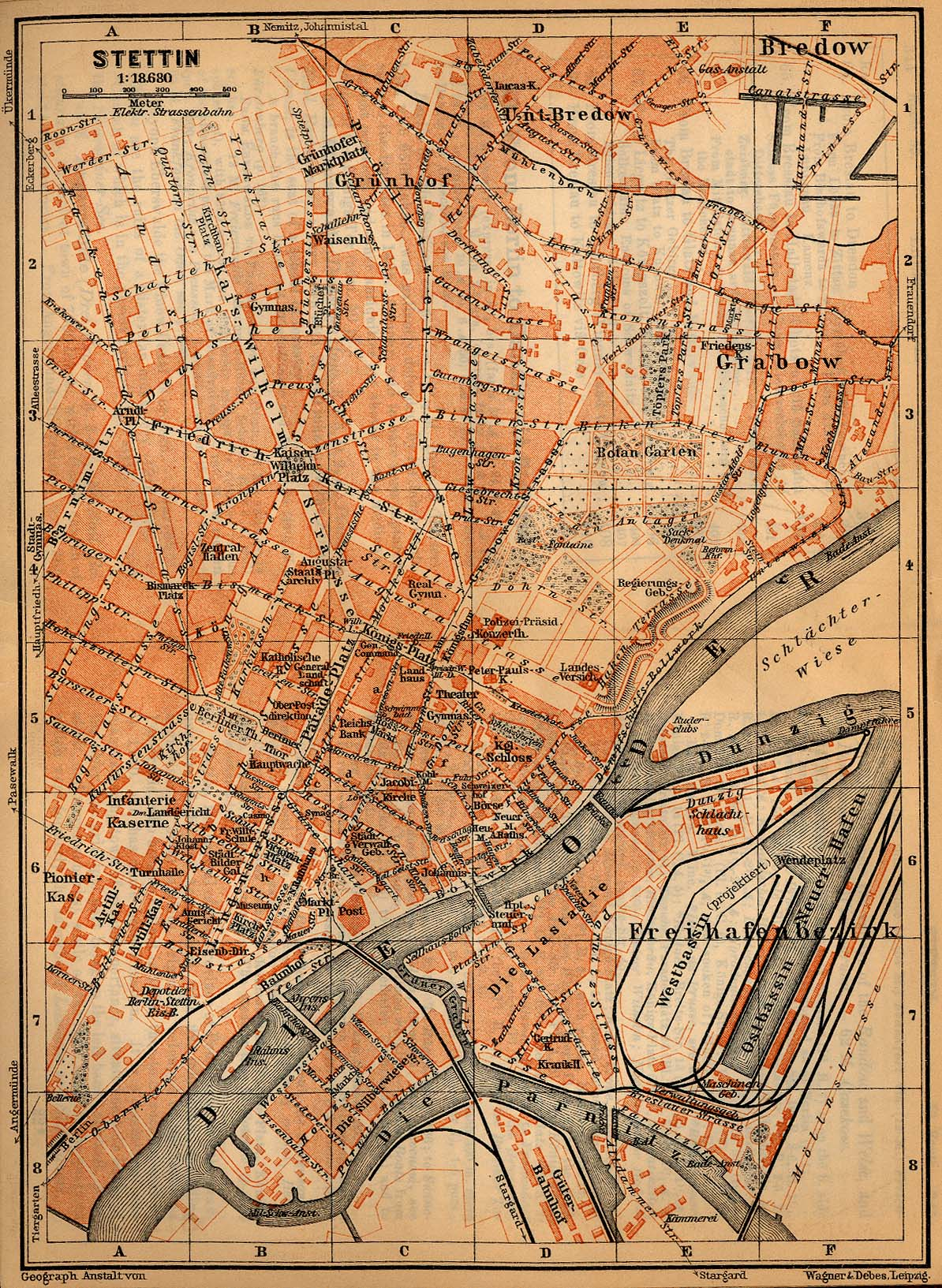 Mapa de Szczecin (Stettin), Alemania 1910
