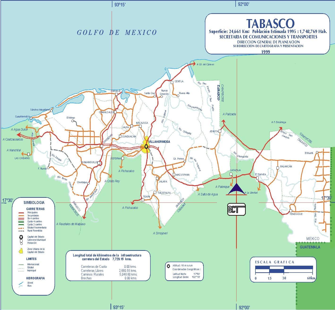 Mapa de Tabasco (Estado), Mexico