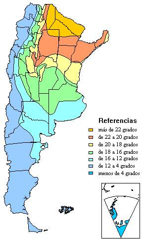 Mapa de Temperaturas de Argentina
