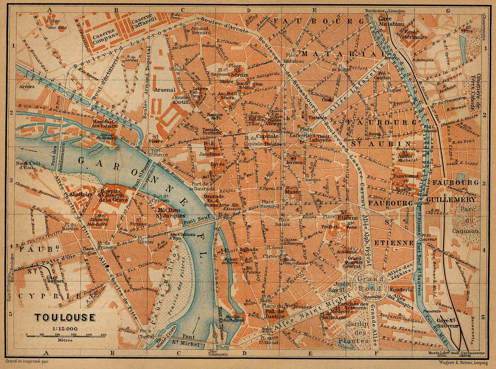 Toulouse Map, France 1914