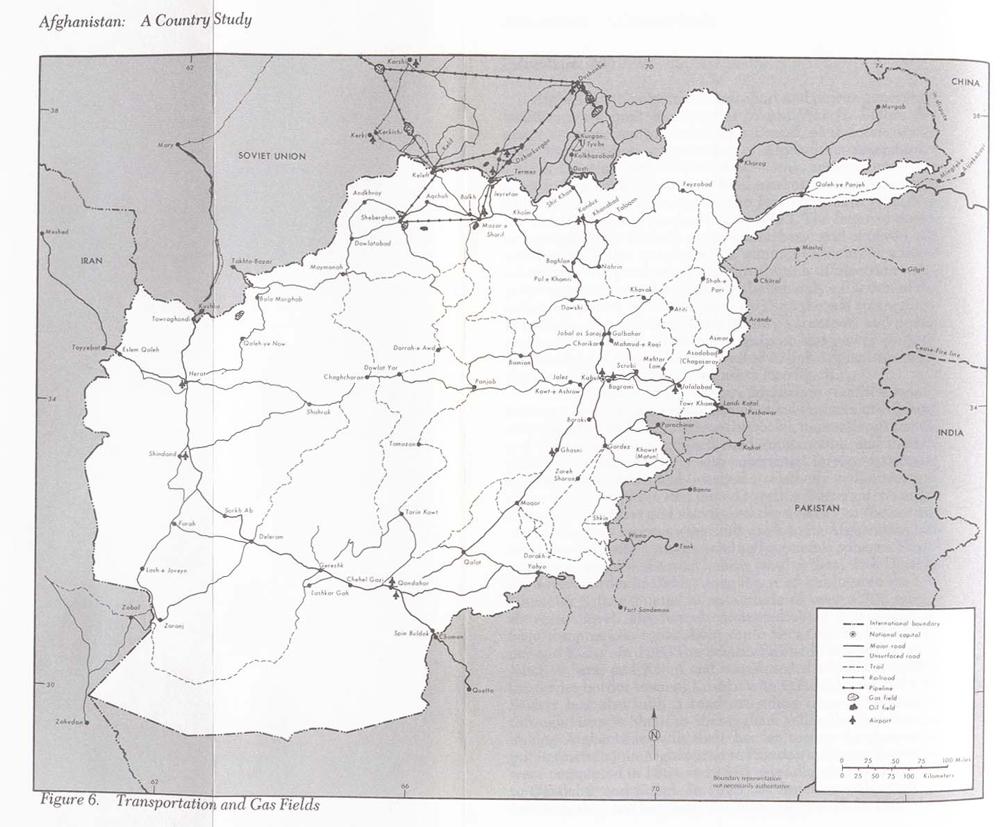 Afghanistan Transportation and Gas Fields Map