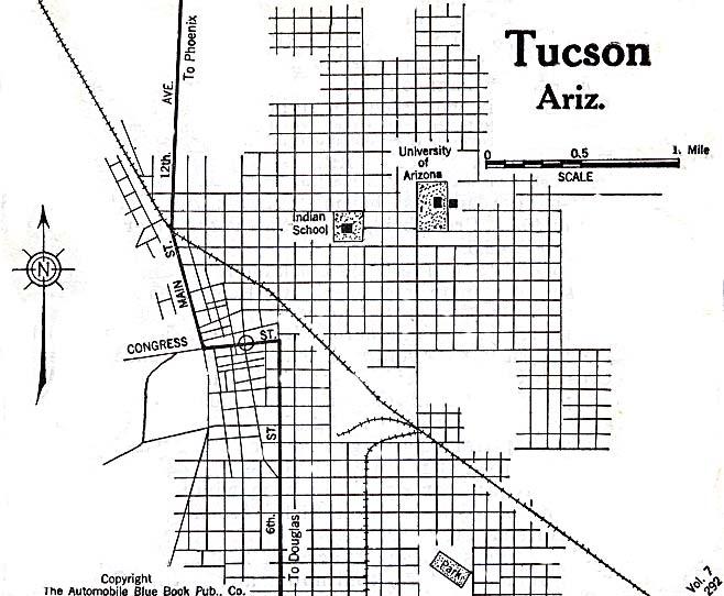 Mapa de Tucson, Arizona, Estados Unidos 1920