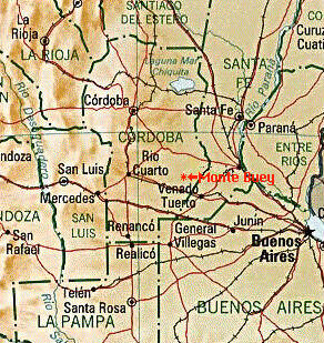 Monte Buey City Location Map, Córdoba Prov., Argentina