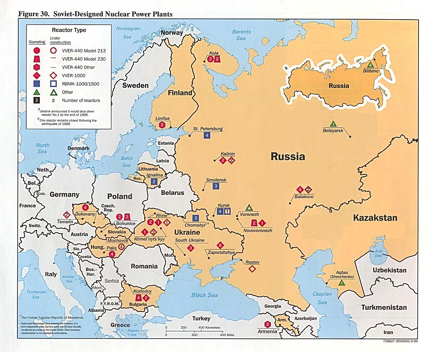 Mapa de Ubicación de las Centrales Nucleares de Diseño Soviético