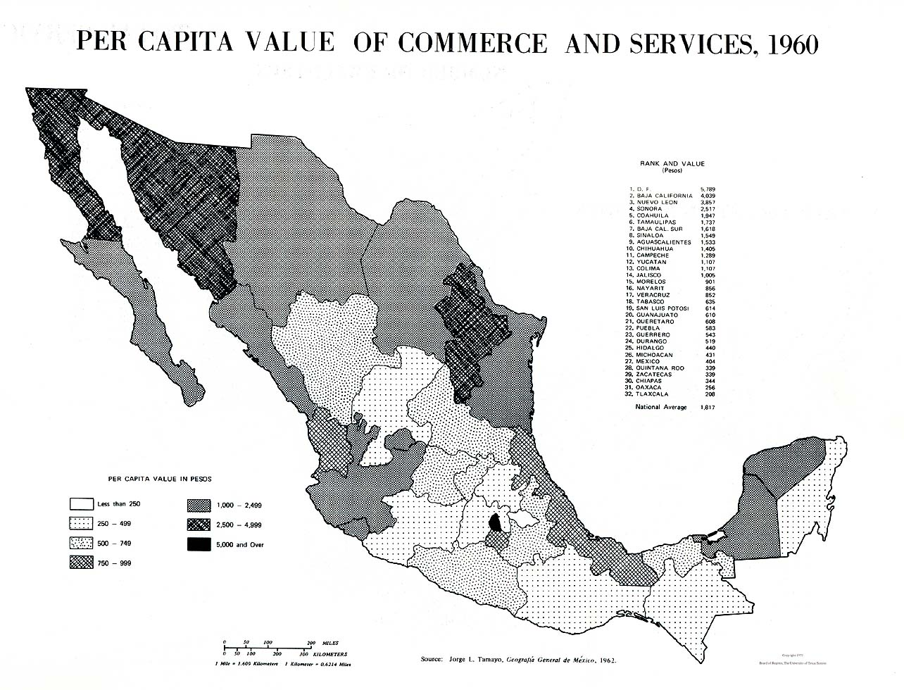 Per Capita Value of Commerce and Services Map, Mexico 1960
