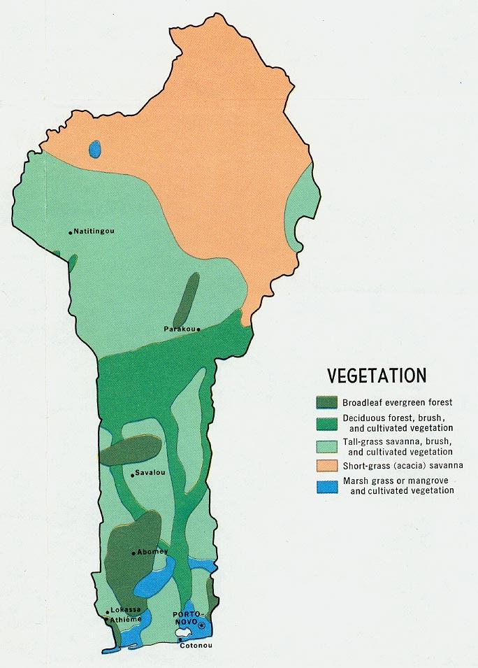 Mapa de Vegetación de Benín