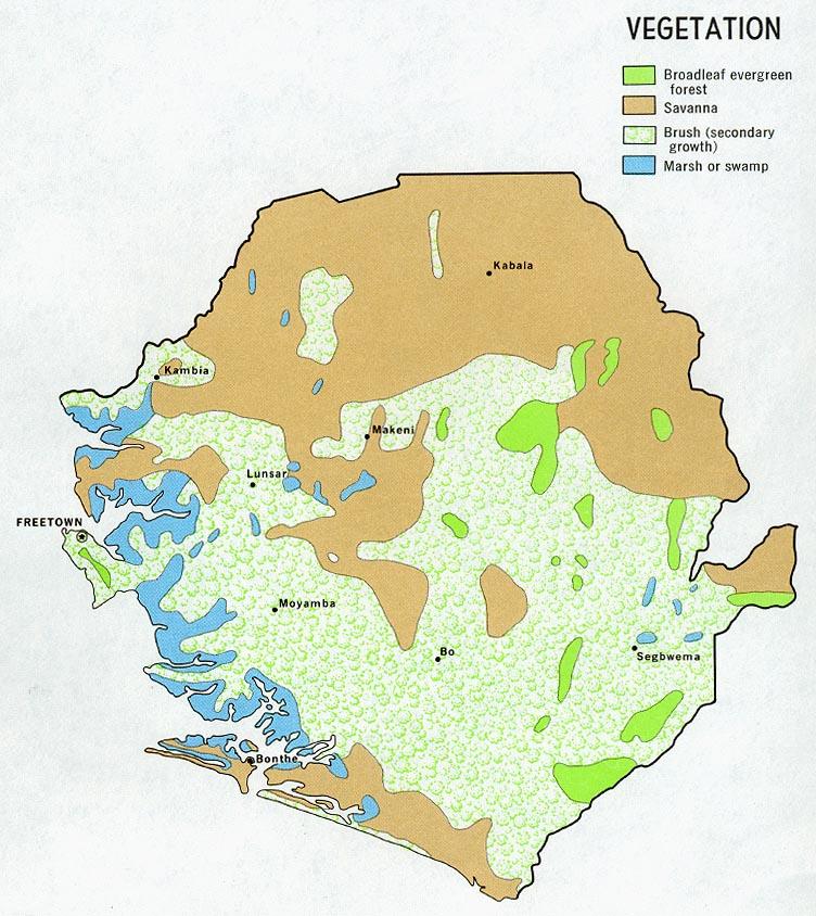 Mapa de Vegetación de Sierra Leona