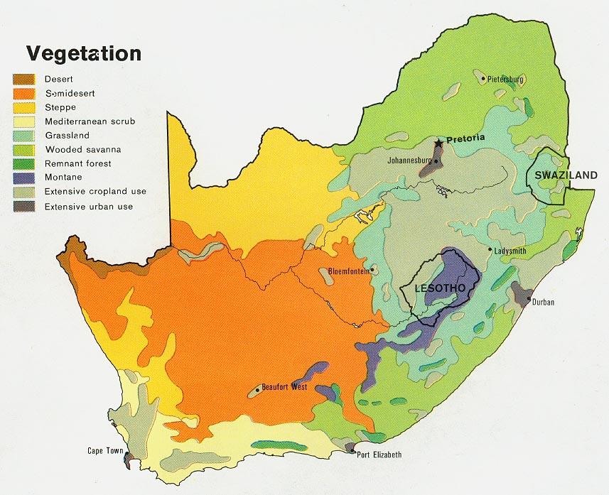 Mapa de Vegetación de Sudáfrica