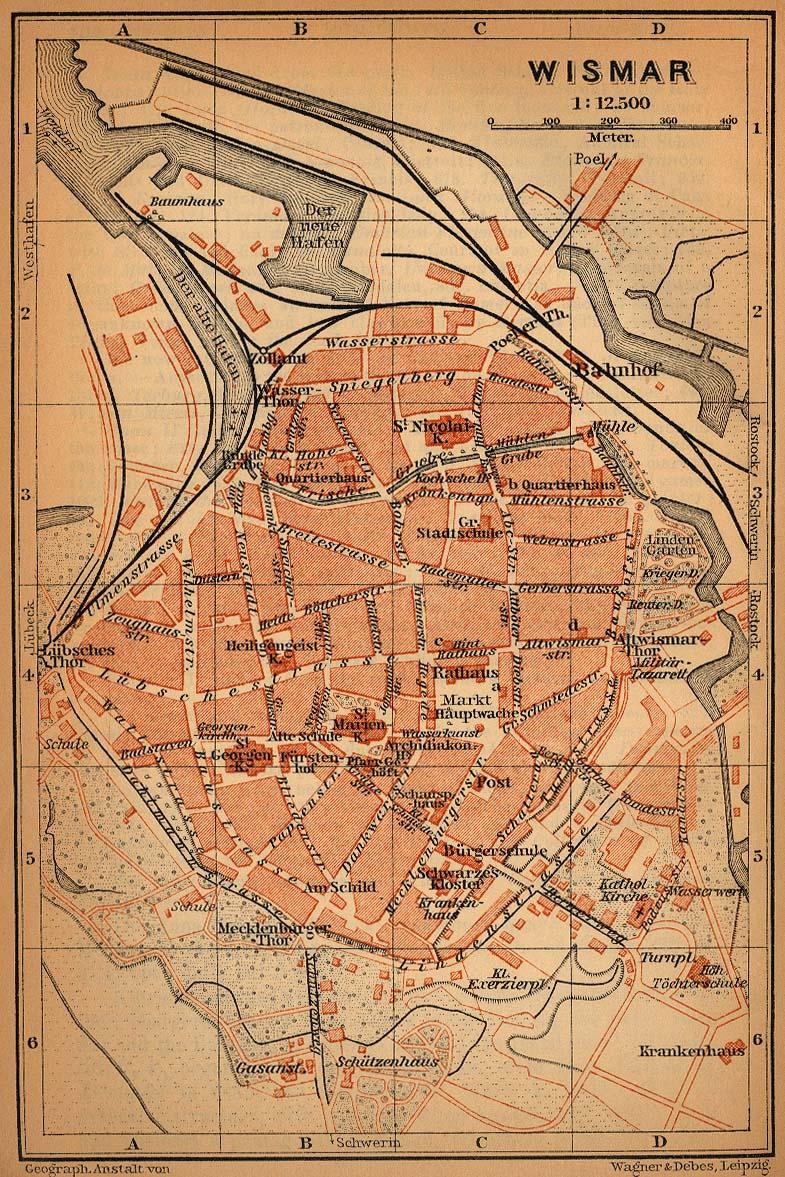 Mapa de Wismar, Alemania 1910