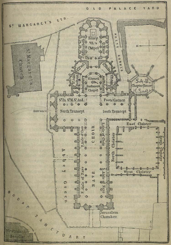 Mapa de la Abadía de Westminster, Londres 1894