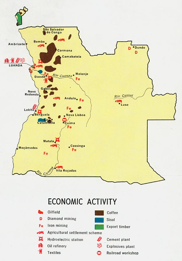 Mapa de la Actividad Económica de Angola