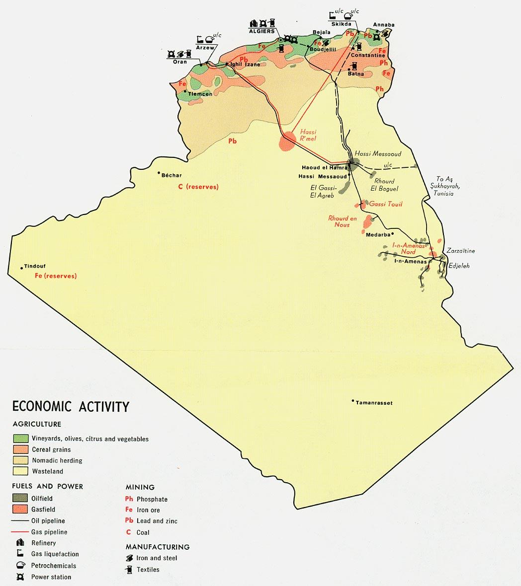 Mapa de la Actividad Económica de Argelia