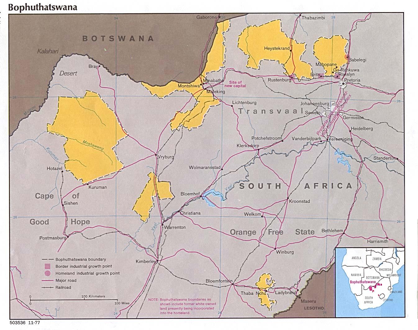 Mapa de la Actividad Económica de Bofutatsuana 1977