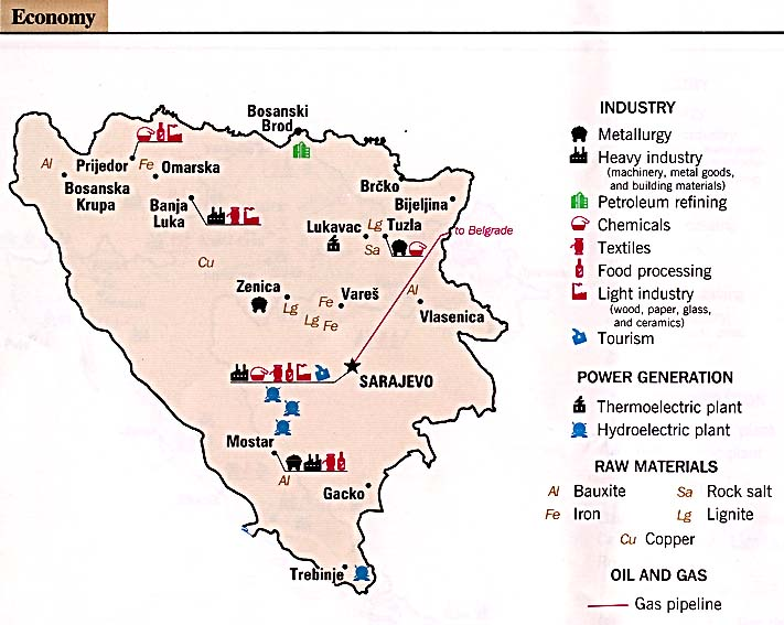 Mapa de la Actividad Económica de Bosnia y Herzegovina